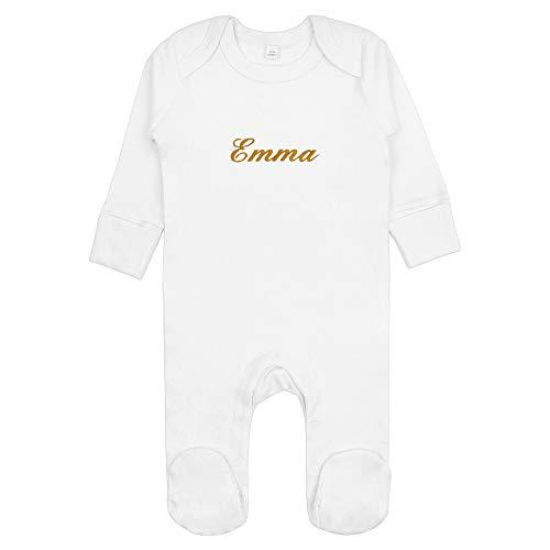 Fair Trade Baby Schlafanzug/Strampler mit Namen bestickt aus 100% Bio-Baumwolle (Weiss, 6-12 Monate)