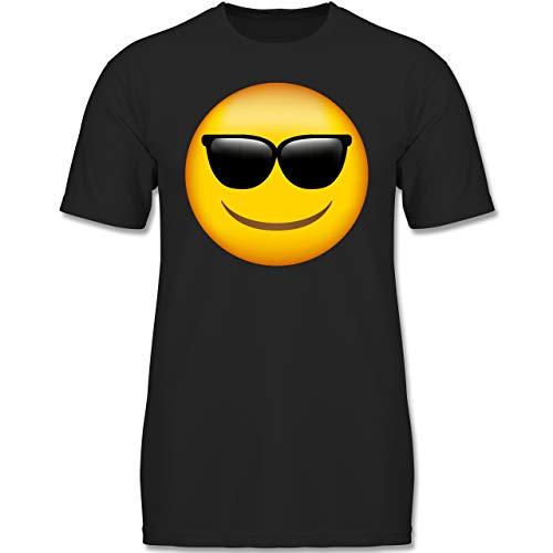 Lila Schwarz Und Narr Kostüm Kinder - Anlässe Kinder - Emoji Sonnenbrille - 104 (3-4 Jahre) - Schwarz - F130K - Jungen Kinder T-Shirt