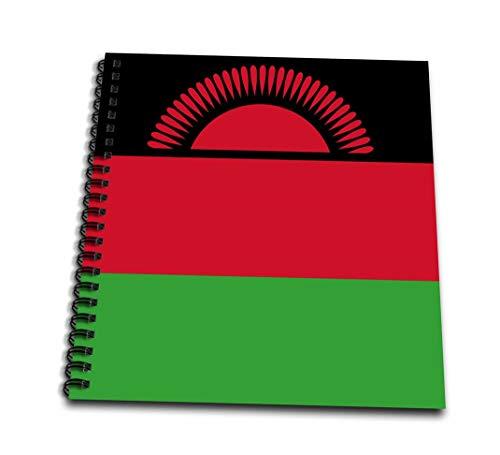 3dRose Flagge Malawi-African Country-Africa-Black rot grün Tricolor Streifen mit Rising Sun-World-Memory Buch 12Zoll (DB 158365Saatgut 2), 30,5x 30,5cm