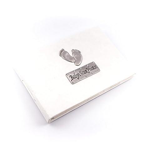 Baby's Scan Photo album with footprint design - soft white