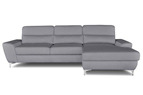 Windsor & Co Droit Convertible Canapé d'Angle, Tissu, Gris Clair, 282 x 162 x 89 cm