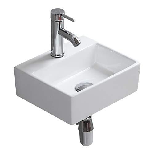 Econnect Waschbecken Aufsatzwaschbecken aus Keramik, stilvoll, quadratisch, für Garderobe und Badezimmer