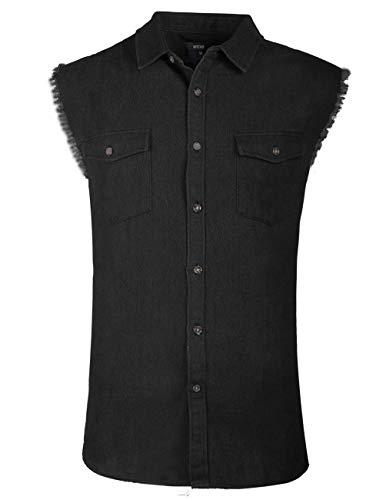 Soopo camicia a quadri camicia jeans uomo nera senza maniche, camicia per l'estate graziosa e comoda, l