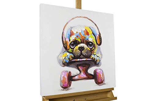 KunstLoft® Acryl Gemälde \'Longboard Love\' 60x60cm   original handgemalte Leinwand Bilder XXL   Hund Skateboard Bunt Bunt   Wandbild Acrylbild Moderne Kunst einteilig mit Rahmen