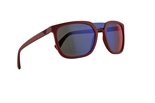 Emporio Armani EA4123 Sunglasses Matte Red w/Dark Grey Mirror Blue Red Lens 58mm 57206P EA 4123