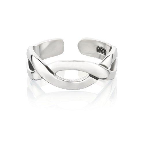 7K Zehenring aus 925 Sterling Silber als Fußschmuck für Damen, Herren und Mädchen, Größenverstellbar, Modell 26 Infinity
