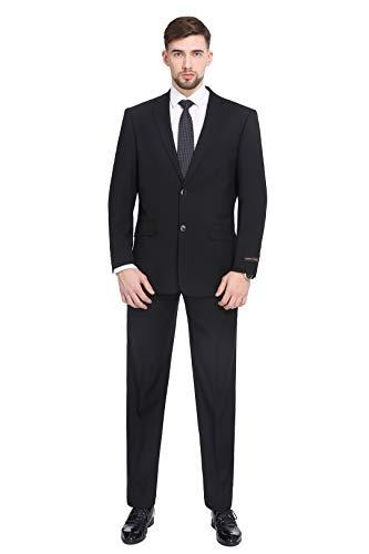 P&L Herren Anzug Classic Fit Blazer Jacke Tux Weste & Flache Hose (2 und 3 Stück) - schwarz - 48 Regulär -