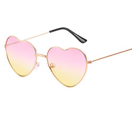 Hhyyq Persönlichkeit Bunte Brille Metall Herz Trends Männer Und Frauen Sonnenbrille Herzform Frau Frameless Transparente Flache Spiegel Designer Lässige Mode Unisex(A)