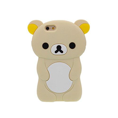 Charmant Ours Forme Série Silicone Gel [ Surface Lisse ] Super Doux Cartoon Animal Coque Housse de Protection Case pour Apple iPhone 6 / iPhone 6S 4.7 inch jaune clair