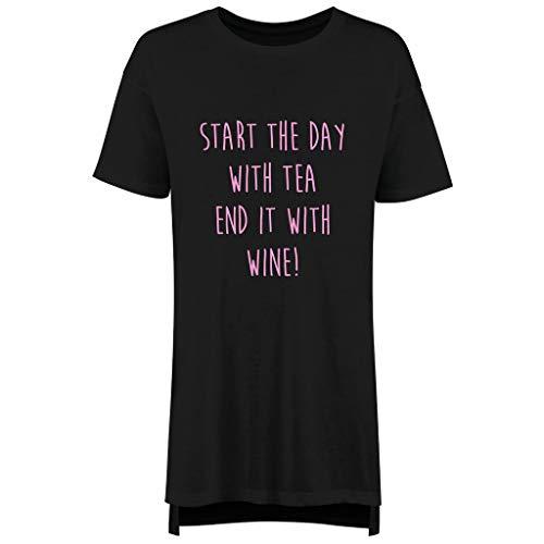 60 Second Makeover Limited Start The Day with Tee Ende es mit Wein Damen Nachthemd Slogan Muttertag Freund Nachtwäsche Nachthemd Nachtwäsche - Schwarz, X Small (UK 8) -