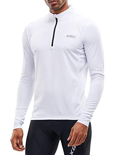 XGC Herren Langarm Radtrikot Fahrradtrikot Radshirt Fahrradshirts Fahrradbekleidung für Männer mit Elastische Atmungsaktive Schnell Trocknen Stoff (White, S)