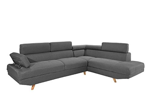 Divano angolare fissa moderno 4coperti–tessuto–colore grigio–180/192x 85x 75