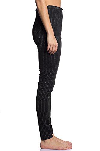 Abbino IG005 Damen Hosen - Made in Italy - Viele Farben - Übergang Herbst Winter Elegant Komfortabel Attraktiv Festlich Charme Warm Damenhosen Regular Sexy Freizeit Lässig Feminin Weich Schwarz (Art. 7322)