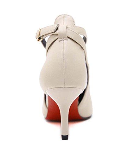 Sling Back Tacco Alto Shallow Pointed Toe Hollow Mid / Low Heel D'orsay Kitten Heel Donne Scarpe In Pelle Scarpe Da Sposa Femminile Di Nozze Natural