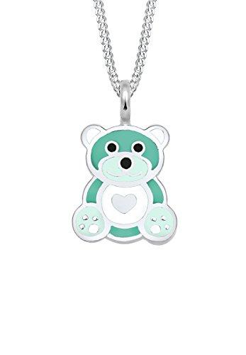 uck Halskette Silberkette mit Anhänger Kids Mädchen Süß Teddybär Herz Pastel Emaille Sterling Silber 925 grün 36 cm (Geburtstag Bear Glücksbärchi)