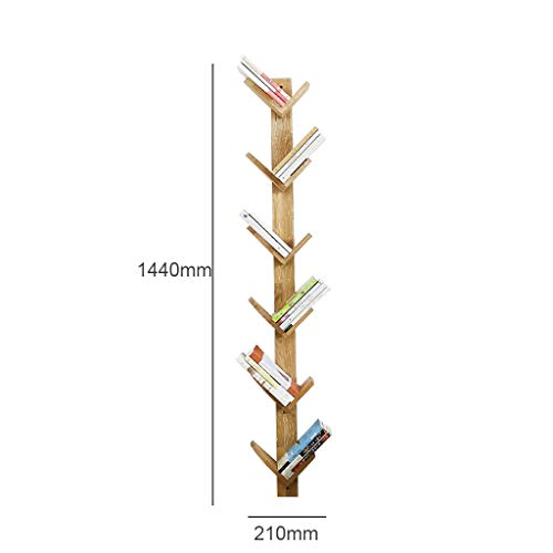 Wall Shelves-WXP ☝ZWJ 6 Regal Baum Bücherregal Bambus Bücherregal Hartholz Display Rack Speicherorganisator Für CDs & Bücher, Eiche 410 -
