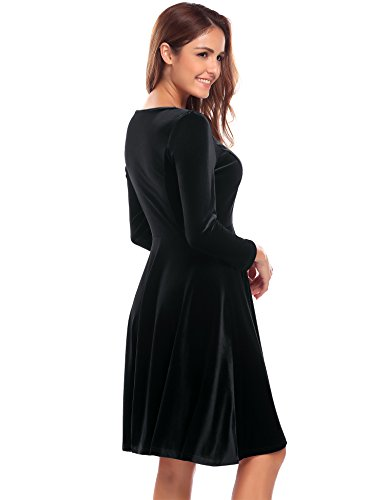 Finejo Damen Samt kleider Langarm Abendkleid Partykleid Rockabilly Kleid Cocktailkleider Minikleid (B)Schwarz