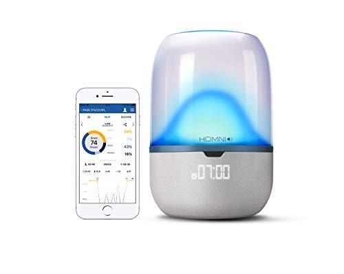 Terraillon Lampe de Luminothérapie Connectée, Analyse du Sommeil, Aide à l'Endormissement et au Réveil, Homni + Capteur Dot