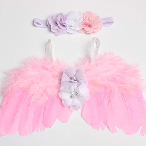 Beautiful Newborn Baby Photography Props Costume Cute Angel Wings+Headband Photo Props Infant Baby Girls Boys Accessories