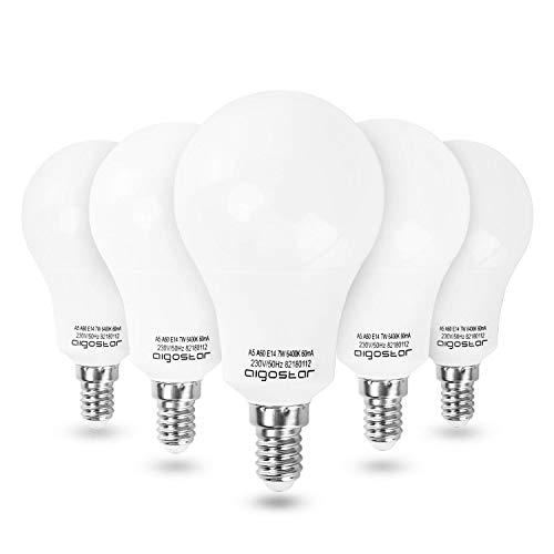 Aigostar - LED-Glühbirnen LED A5 A60 E14, 280° großer Abstrahlwinkel, 7W entspricht 60W Glühlampen, 560 Lumen, CRI≥Ra, kaltweißes Licht 6400K, 25000 Stunden Lebensdauer - Packung mit 5 Stück[Energieeffizienzklasse A +]