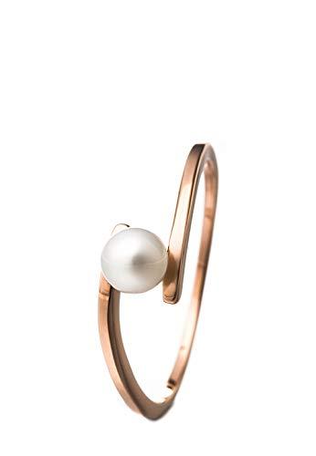 Heideman Ring Damen Perlenring aus Edelstahl Rosegold farbend matt Damenring für Frauen mit Swarovski Perle