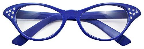 50er Kostüm Brille Jahre Stil Der - Fifties Cat Eye Brille Diamond Blau