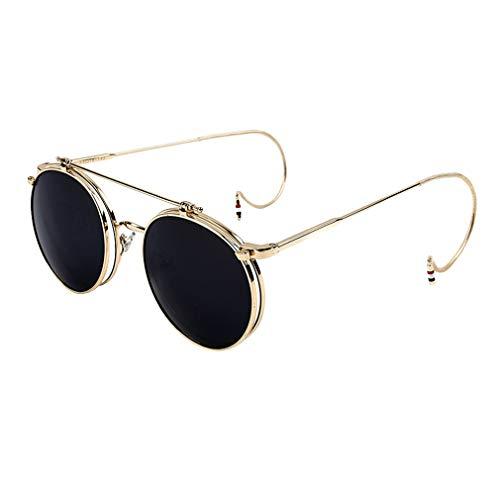 kunfang Damen Klapp-Sonnenbrille Steampunk 70er Retro Stil Rund Herren Hochklappbare Gläser