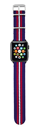 Trust Urban - Correa de nylon para Apple Watch, 42 mm, color azul con rayas