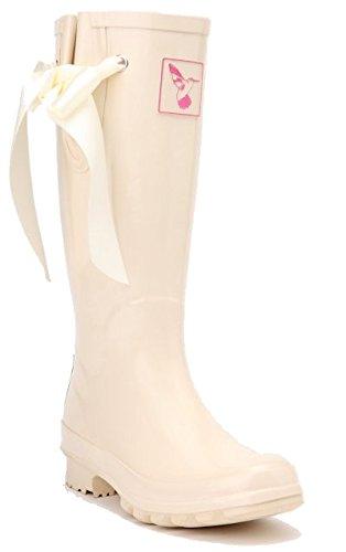 Ladies Evercreatures Knee High Wedding Day Cream I Do Wedding Wellies Bridal Wellingtons Boots (UK 3-8)