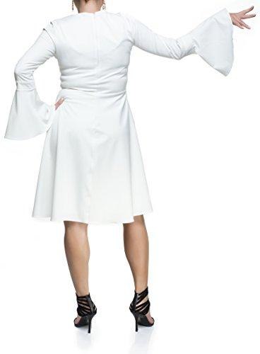 Damen Kleid Knielang Abendkleid weite Ärmel Empire auch Große Größen, Tanzkleid Ballkleid Cocktailkleid Businesskleid Elegant Dezent, Hochzeit Partykleid Weiß