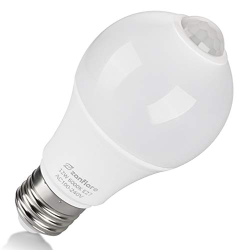 Zanflare - Bombilla de sensor de movimiento, 12 W, E27, LED, para escaleras, garaje, puerta, porche, jardín, patio, luz blanca fría (6000 K)