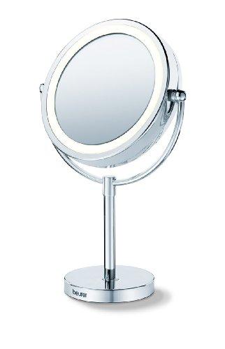 BS 69 Kosmetikspiegel, Beleuchteter Spiegel mit 2 drehbaren Spiegelflächen und 5-fach Vergrößerung