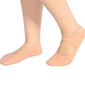 Silikon Socken Gel Feuchtigkeitsspendende Socken Fuß Anti-Riss-Schutz Fußpflege Werkzeug Prävention Lindern Plantarfasziitis Fersenknochensporn Schmerzen Erweichen abgestorbene Haut(L-Haut)