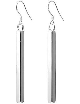 2LIVEfor Ohrringe Stab Silber Lang hängend Zylinder eckig Versilbert 925 Ohrringe Silber hängend Elegant Stab...