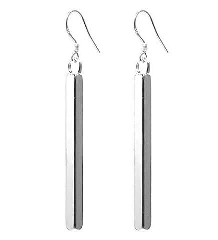 2LIVEFOR Long Earrings Rod / Bar Design 925 Sterling Silver Earrings Long Dangle square