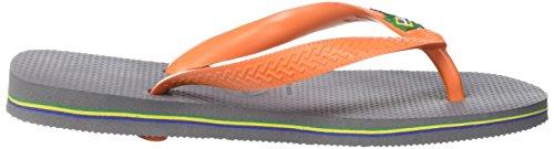 Havaianas Tongs Homme/Femme Brasil Logo Multicolore (Steel Gris/Neon Orange)