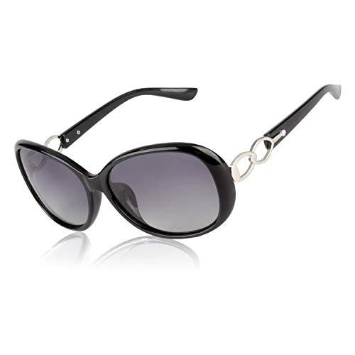 CGID Retro Großer Rahmen Designer Oversized Damen Sonnenbrille für Frauen Polarisiert Sonnen Brille UV Sonnenbrille Brille mit Strasssteinen Farbverlauf Schwarze Gläser MJ85