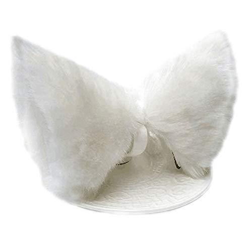 JUNBOON Pelz Katze Fuchs Ohren Haarspange Headwear Anime Cosplay Stirnband Halloween Party Kostüm Zubehör(white)