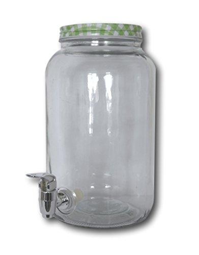 Glas Getränkespender Dispender mit Zapfhahn 3 Liter Saftspender Spender mit Deckel (Getränkespender Flasche 3)