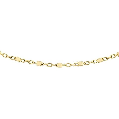 9ct oro giallo cubo Link Catena 51CM/20