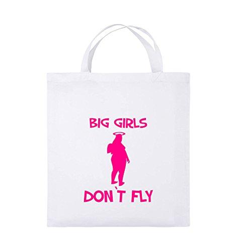 Comedy Bags - BIG GIRLS DON'T FLY - Jutebeutel - kurze Henkel - 38x42cm - Farbe: Schwarz / Pink Weiss / Pink