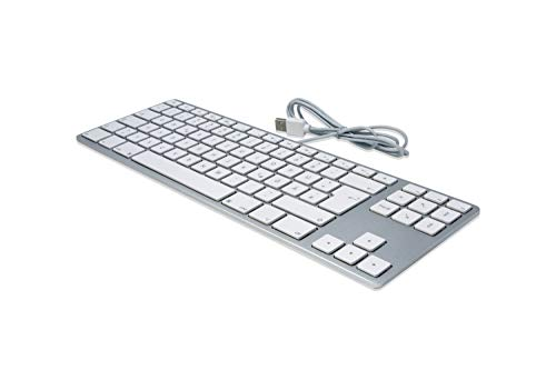 Matias FK308S-DE Aluminum Tenkeyless USB Tastatur für Apple Mac OS QWERTZ Deutsch ergonomisch compact 88-Tasten ohne Ziffernblock, Silber/Weiß (Ergonomische Mac-tastatur)