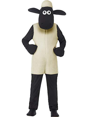 Luxuspiraten - Kinder Jungen Mädchen Kostüm Plüsch Shaun Das Schaf The Sheep Fell Einteiler Onesie Overall Jumpsuit, perfekt für Karneval, Fasching und Fastnacht, 122-134, Weiß