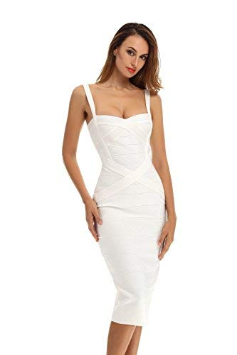 n's Rayon Strap Mid-Calf Length abend Party Bandage Prom Dress (XL, Wei?) ()