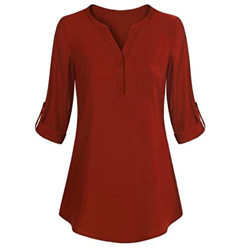 (SEWORLD 2018 Damen Mode Sommer Herbst Damen Langarm Roll-Up Top Beiläufige V-Ausschnitt Knopf Lagenhemd Blusen(X-e-orange,EU-38/CN-S))
