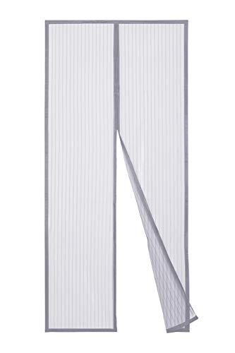 Sekey Magnet Fliegengitter Tür Vorhang für Holz, Eisen, Aluminium Türen und Balkon. Einfache Installation (210 x 90cm, Grau)