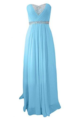Sunvary Romantic Sweetheart Chiffon per damigella d'onore, per abiti da sera o da cerimonia, con diamanti Blue