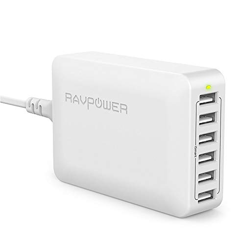 RAVPower USB Ladegerät 6-Port 60W/12A USB Ladeadapter mit iSmart Technologie für iPhone X XR XS Max 8 7 6 Plus, iPad Pro Air Mini, Galaxy S9 S8 Plus, LG, Huawei, HTC, Mp3 usw. Weiß Nokia-ac-wand