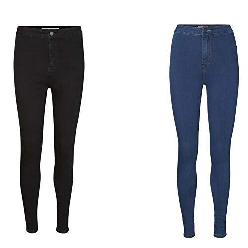 724fdc0542 Noisy May Ella Taille Haute Femmes Jeans Jeans Pantalon - Bleu, EU 40 ( Medium