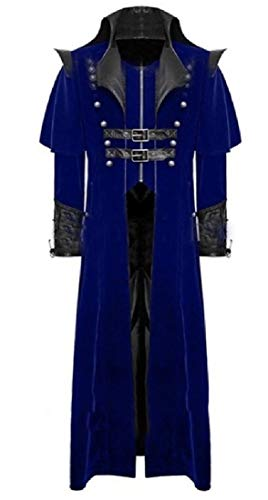 CuteRose Mens Medieval Long Sleeve Windproof Deluxe Cardigan Coat Blue L Deluxe Military Jacket